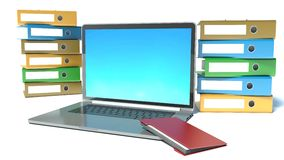 Isolated stack of folders. Laptop Royalty Free Stock Photo