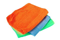 Isolated stack of three towels Stock Photo