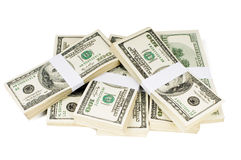 Isolated Stacks of Money. Huge stack of prop money. Bundled in $10000 dollar stacks. Isolated on white Stock Photography