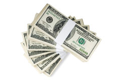 Isolated Stacks of Money Stock Photography