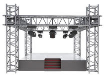 Isolated stage podium with many spotlights Royalty Free Stock Images