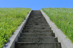 Isolated stairs, green grass, blue sky Stock Images