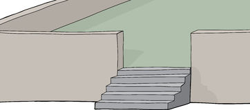 Isolated Stairs on Patio Stock Photo