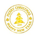 Isolated Stamp Christmas and Happy New Year Greeting Banner. Vector vector illustration