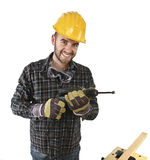 Isolated standin handyman with electric drill Royalty Free Stock Image
