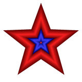Isolated Star. Red and blue patriotic star isolated on white background Royalty Free Stock Photography