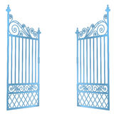 Isolated steel decorated baroque open gate vector Stock Photo