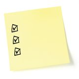 Isolated Sticky Note Listing Black tick-boxes Royalty Free Stock Photos