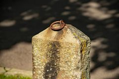 Isolated stone hitching post in Montour Falls. New York near Shequaga Falls. Iron ring on top of post royalty free stock photo