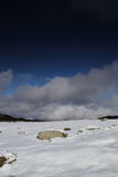 Isolated stone in a snowy landscape in Pyrenees Stock Image