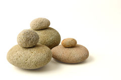 Isolated stones. Round balance stones isolated white background Stock Photos