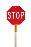 Isolated stop sign with cigarette post Royalty Free Stock Images