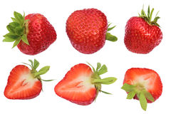 Isolated Strawberries. Collection Of Whole And Cut Strawberry Fruits Isolated On White Background With Clipping Path