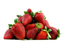 Isolated Strawberries on white background. Fresh juicy strawberries isolated on white background Royalty Free Stock Images