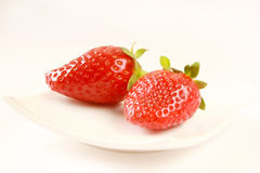 Isolated strawberry. Natural tasty red strawberry isolated on white Royalty Free Stock Photography