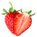 Isolated strawberry and half. Isolated fruits. Strawberry and half on white background isolated on white background as package design element royalty free stock images
