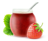 Isolated strawberry jam Stock Images