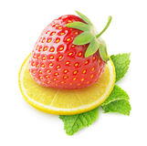 Isolated strawberry and lemon Stock Images