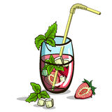 Isolated Strawberry Mojito Royalty Free Stock Images