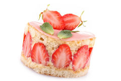 Isolated strawberry shortcake Royalty Free Stock Photo