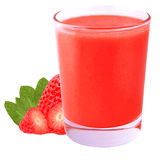 Isolated strawberry smoothie on white. Collection of smoothie isolated on white background as package design element. Healthy eating. Food photography royalty free stock image