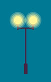 Isolated Street Lamp. Evening. Bright Illumination Royalty Free Stock Photo