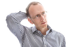 Isolated stressed and pensive business man with problems. Royalty Free Stock Photos