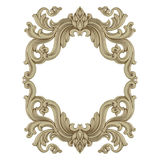 Isolated stucco frame on white background. Antique photo or mirror frame Stock Photos