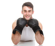 Isolated studio picture from a young boxer Stock Photos