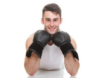 Isolated studio picture from a young boxer Royalty Free Stock Photo