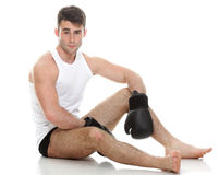 Isolated studio picture from a young boxer Royalty Free Stock Photography