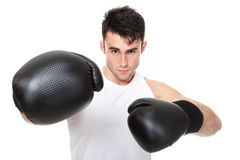 Isolated studio picture from a young boxer Stock Photography