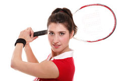 Isolated studio picture from a young woman with tennis racket Stock Photo
