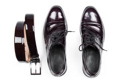 Isolated stylish leather men's dress shoes and belt.  Stock Image