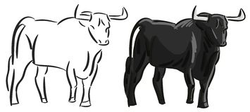 Isolated stylized colorful bull Stock Photos
