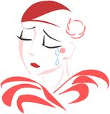 Isolated stylized Sad pierrot in red tones Stock Image