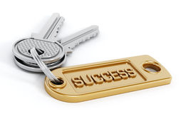 Isolated success key. Key attached to success label isolated on white background Stock Images