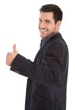Isolated successful smiling young business man with thumb up. Stock Image
