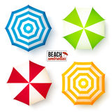 Isolated summer beach umbrellas set Stock Images