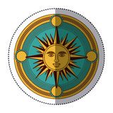 Isolated sun inside compass design Royalty Free Stock Images