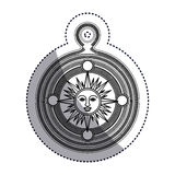 Isolated sun inside compass design Stock Photo