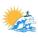 Sun sea wave surf logo Royalty Free Stock Images
