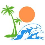 Sunny palm tree wave logo. Isolated Sunny palm tree wave logo on white background Royalty Free Stock Photo