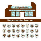 Isolated supermarket icon set in brown. Layout of the building royalty free illustration