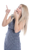 Isolated surprised young attractive business woman on white back Stock Photo