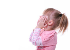 Isolated surprised young girl looking up. In pink Royalty Free Stock Photography