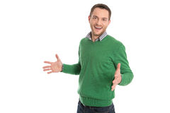 Isolated surprised young manager on withe background. Surprised young business man isolated on white Stock Photo