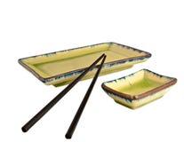 Isolated sushi decorative plates Stock Image