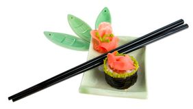 Isolated sushi plate with chopsticks Royalty Free Stock Images