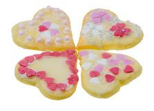 Isolated Sweet Christmas Cookies in heart shape. Closeup of isolated sweet Christmas Cookies in heart shape Royalty Free Stock Image